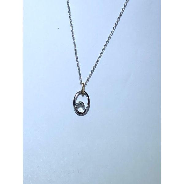 14kt TT Diamond oval wave pendant Jerald Jewelers Latrobe, PA