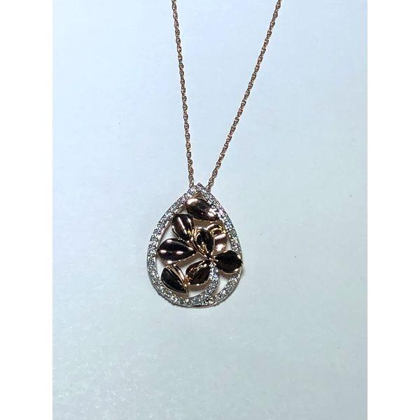 14kt Rose Gold Diamond floral pendant Jerald Jewelers Latrobe, PA