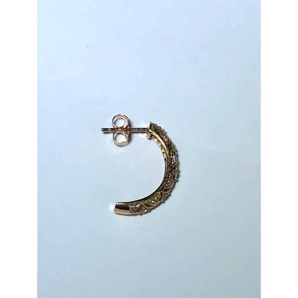14k rg J-hoop filigree Diamond  Image 2 Jerald Jewelers Latrobe, PA