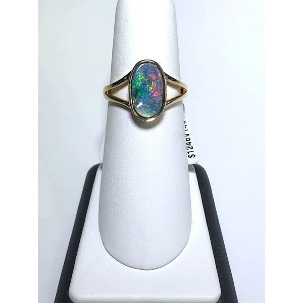 BOULDER OPAL SPLIT SHANK RING Jerald Jewelers Latrobe, PA