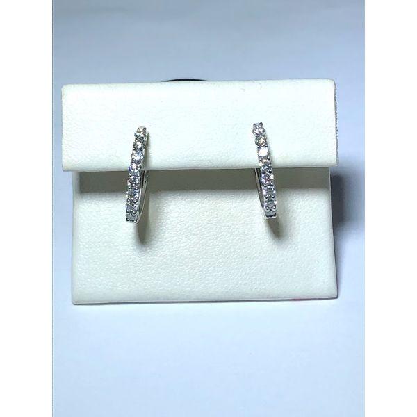14kt wg Shared prong Diamond Hoops Jerald Jewelers Latrobe, PA