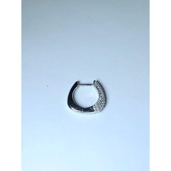 14kt Pave Round Diamond Hoops Image 3 Jerald Jewelers Latrobe, PA
