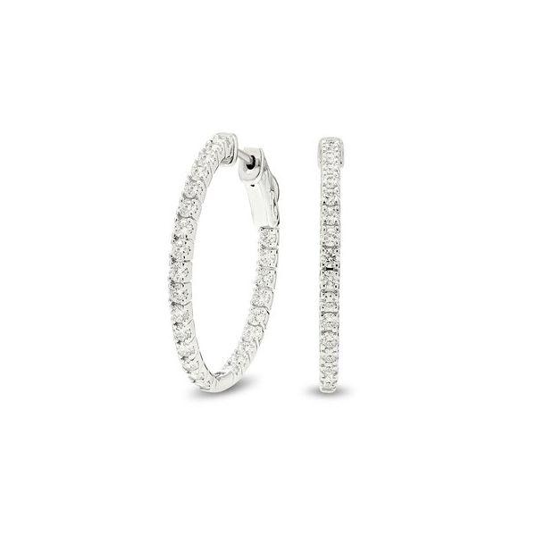 White gold, inside-outside diamond hoop earrings Jerald Jewelers Latrobe, PA