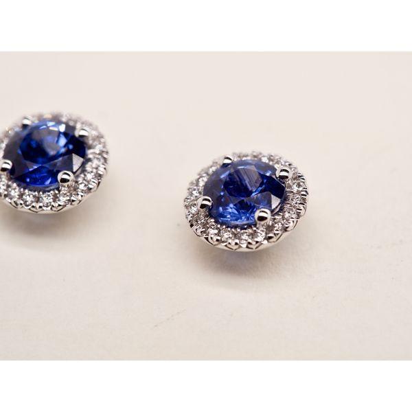 Round Sapphire Studs with Diamond Halo  Image 2 Portsches Fine Jewelry Boise, ID