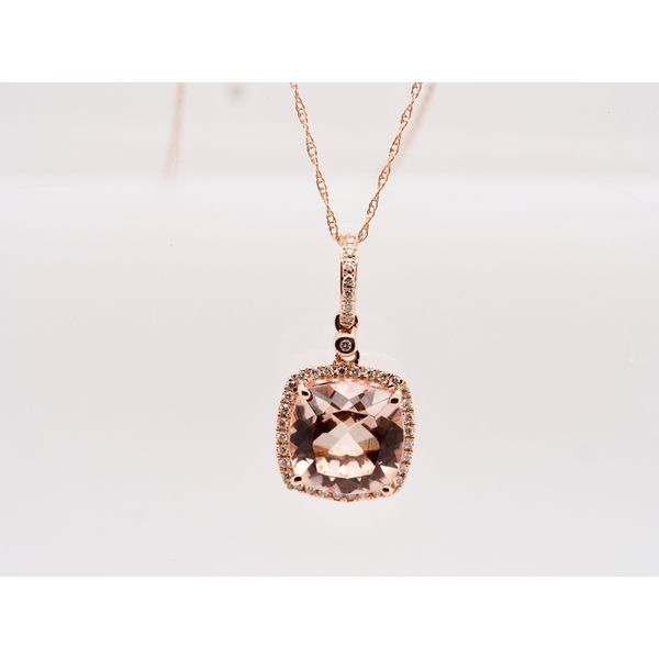 Cushion Cut Morganite Necklace in Rose Gold Portsches Fine Jewelry Boise, ID
