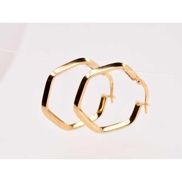 Hexagon Tube Gold Hoops  Portsches Fine Jewelry Boise, ID