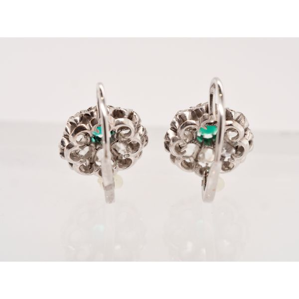 Antique Diamond and Emerald Leverback Earrings  Image 2 Portsches Fine Jewelry Boise, ID