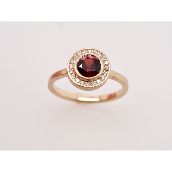 Idaho Garnet with Diamond Halo Gold Ring Portsches Fine Jewelry Boise, ID
