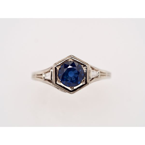 Sapphire with Baguettes Gold Ring Portsches Fine Jewelry Boise, ID