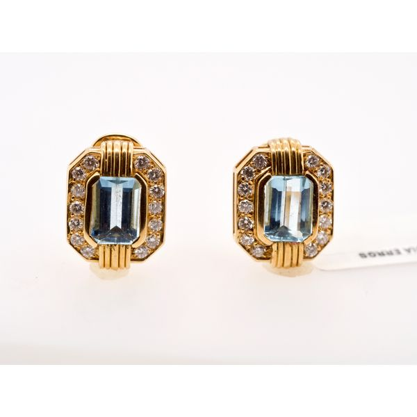 Aquamarine & Diamond Gold Earrings Portsches Fine Jewelry Boise, ID
