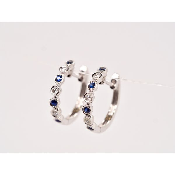 Petite Diamond and Sapphire Hoops  Image 2 Portsches Fine Jewelry Boise, ID