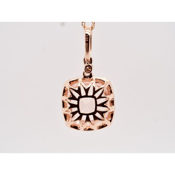 Cushion Cut Morganite Necklace in Rose Gold Image 3 Portsches Fine Jewelry Boise, ID