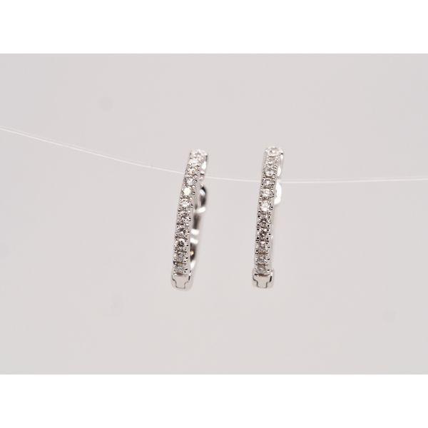 Diamond White Gold Huggie Hoops  Portsches Fine Jewelry Boise, ID