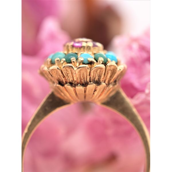 Vintage Turquoise & Ruby Gold Petal Ring  Image 2 Portsches Fine Jewelry Boise, ID