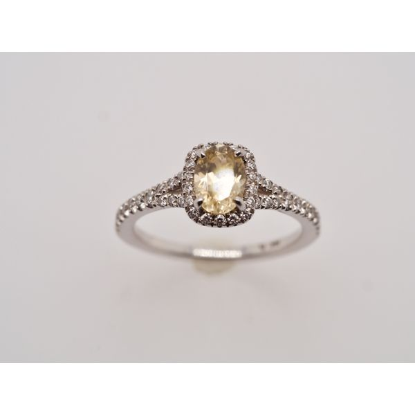 Yellow Zircon Oval with Diamond Halo  Portsches Fine Jewelry Boise, ID