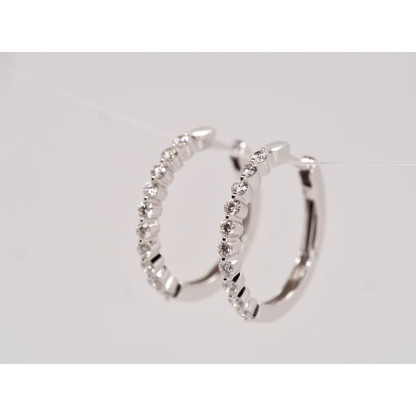0.50cttw Diamond Scalloped Gold Hoops  Image 2 Portsches Fine Jewelry Boise, ID
