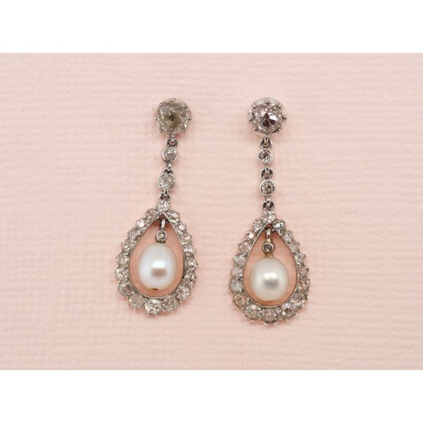 Edwardian Pearl & Diamond Earrings  Portsches Fine Jewelry Boise, ID