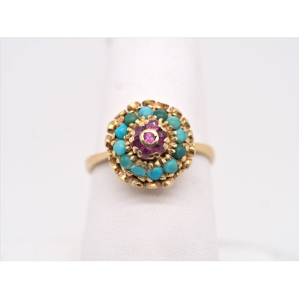 Vintage Turquoise & Ruby Gold Petal Ring  Portsches Fine Jewelry Boise, ID