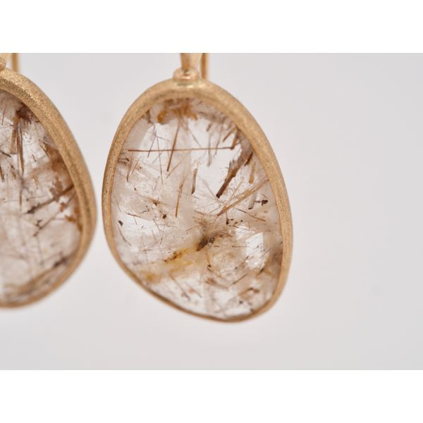 Rutilated Quartz Gold Earrings  Image 3 Portsches Fine Jewelry Boise, ID