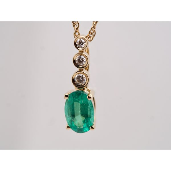 Oval Emerald Pendant with 3 Diamonds  Image 2 Portsches Fine Jewelry Boise, ID