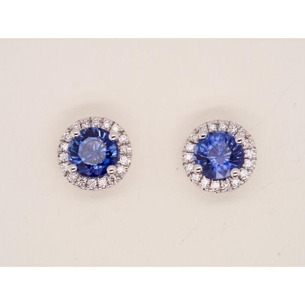 Round Sapphire Studs with Diamond Halo  Portsches Fine Jewelry Boise, ID