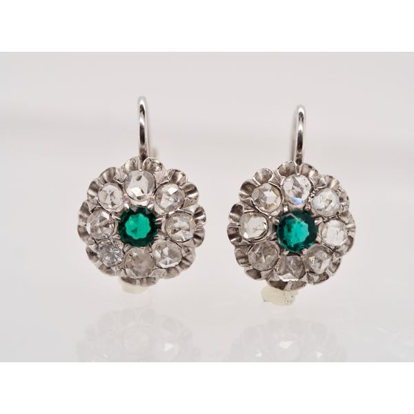 Antique Diamond and Emerald Leverback Earrings  Portsches Fine Jewelry Boise, ID