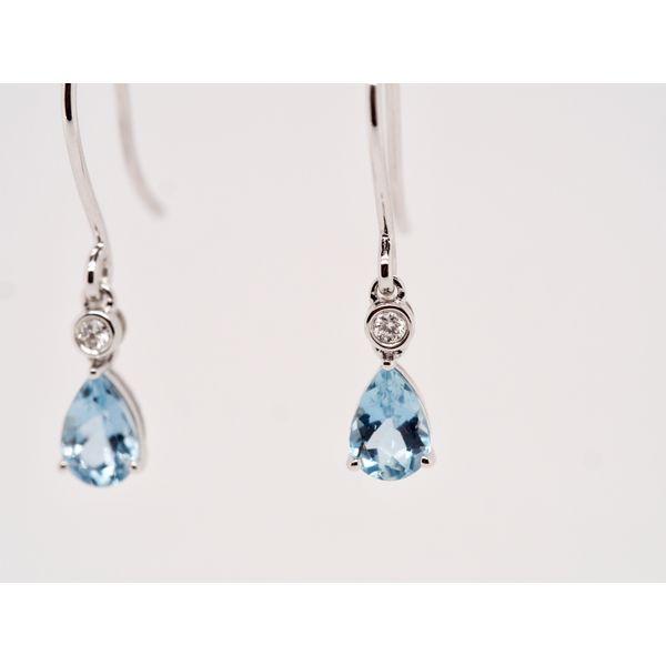 Aquamarine & Diamond Gold Earrings Image 2 Portsches Fine Jewelry Boise, ID