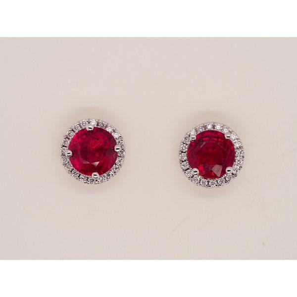 Round Ruby Studs with Diamond Halo  Portsches Fine Jewelry Boise, ID