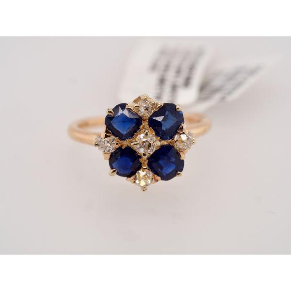 Antique Sapphire Cushion & Diamond Ring  Portsches Fine Jewelry Boise, ID