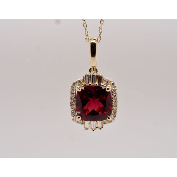 Cushion Cut Garnet Necklace with Diamonds Portsches Fine Jewelry Boise, ID