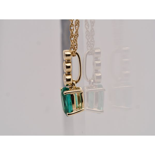 Oval Emerald Pendant with 3 Diamonds  Image 3 Portsches Fine Jewelry Boise, ID