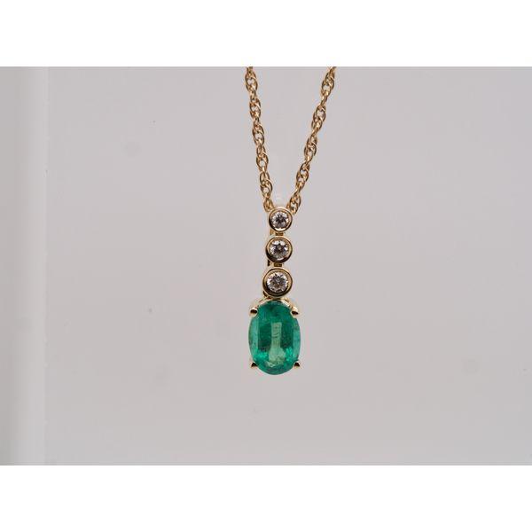 Oval Emerald Pendant with 3 Diamonds  Portsches Fine Jewelry Boise, ID