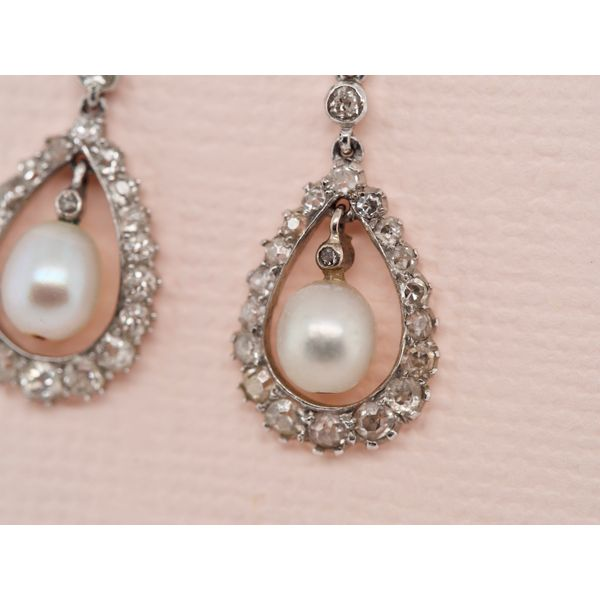 Edwardian Pearl & Diamond Earrings  Image 2 Portsches Fine Jewelry Boise, ID