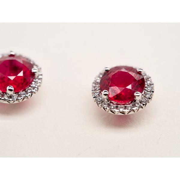 Round Ruby Studs with Diamond Halo  Image 2 Portsches Fine Jewelry Boise, ID