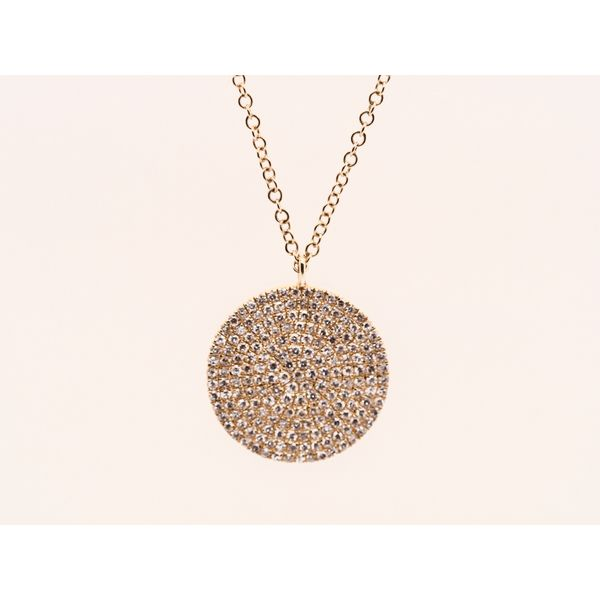 Circular Gold Disk with Diamonds Necklace  Portsches Fine Jewelry Boise, ID