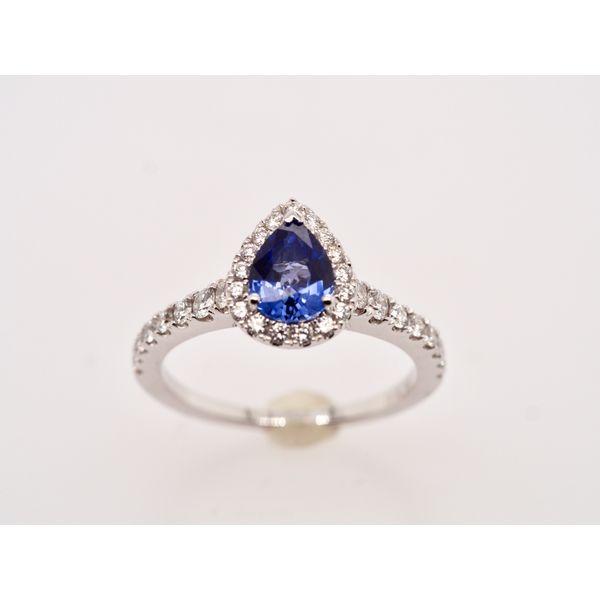Pear Sapphire Diamond Halo Ring  Portsches Fine Jewelry Boise, ID