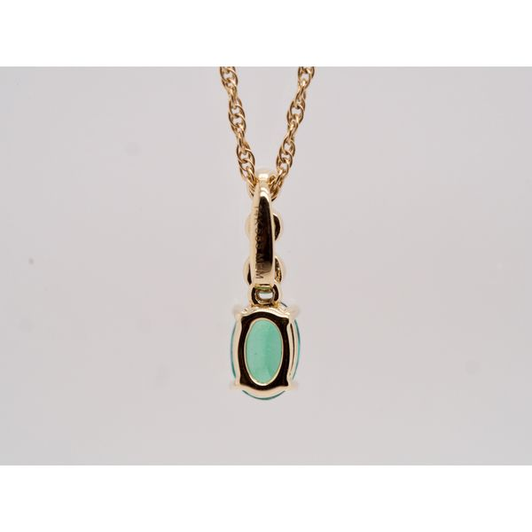 Oval Emerald Pendant with 3 Diamonds  Image 4 Portsches Fine Jewelry Boise, ID