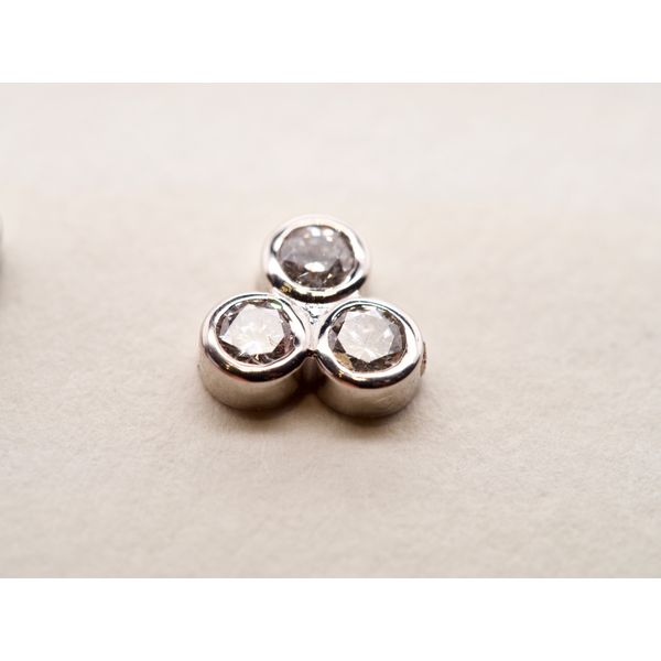 3 Stone Bezel Set Studs in White Gold Image 2 Portsches Fine Jewelry Boise, ID