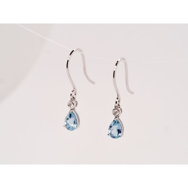 Aquamarine & Diamond Gold Earrings Image 3 Portsches Fine Jewelry Boise, ID