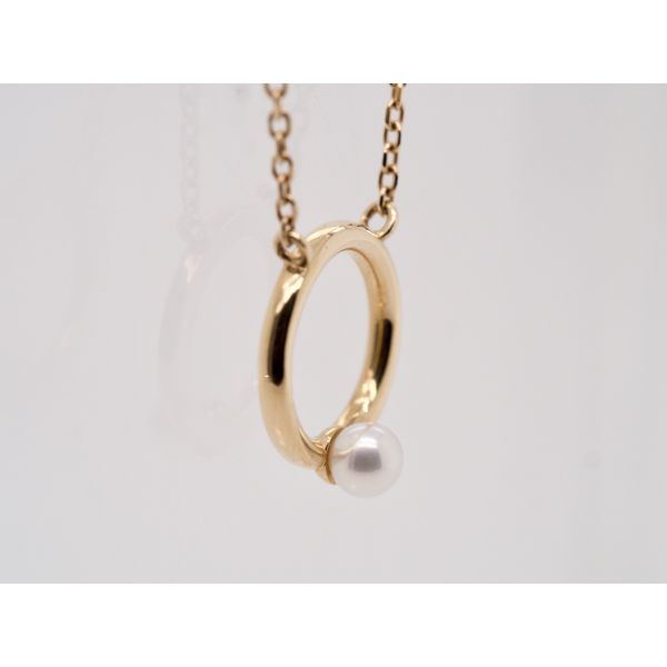 Gold Circle with Pearl Accent Necklace  Image 2 Portsches Fine Jewelry Boise, ID