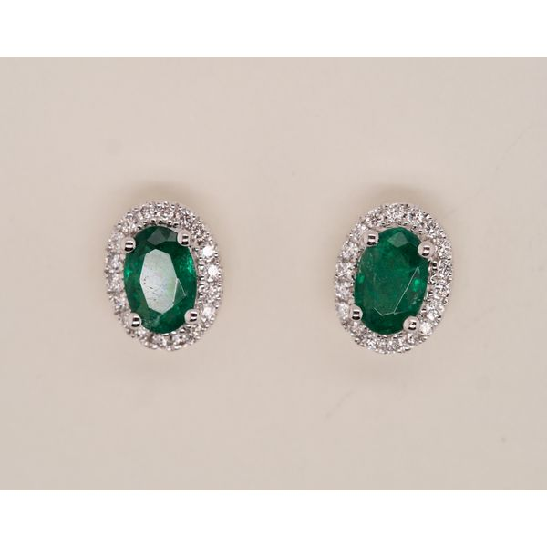 Oval Emerald Studs with Diamond Halo Image 2 Portsches Fine Jewelry Boise, ID