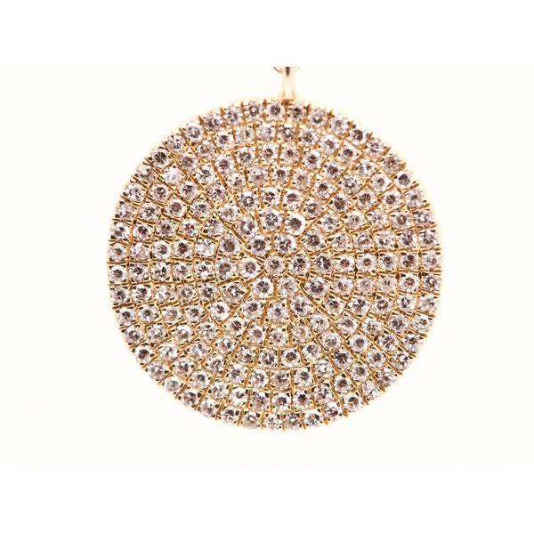 Circular Gold Disk with Diamonds Necklace  Image 2 Portsches Fine Jewelry Boise, ID