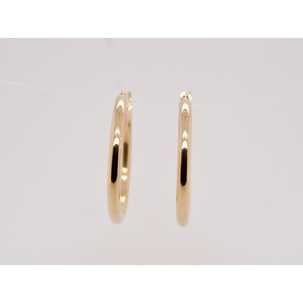 Yellow Gold Tube Hoops  Image 2 Portsches Fine Jewelry Boise, ID