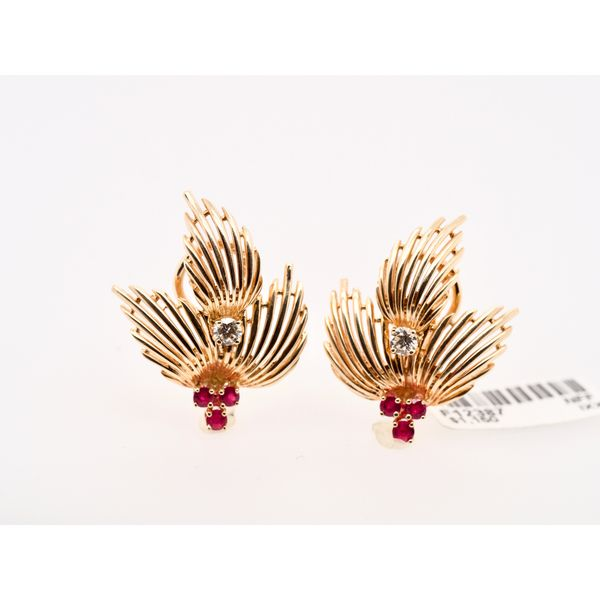 Leaf Earrings with Diamonds and Rubies Portsches Fine Jewelry Boise, ID