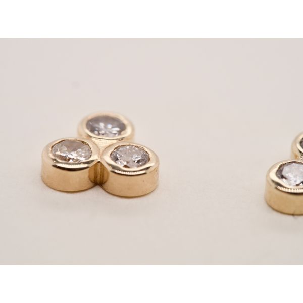 3 Stone Bezel Set Studs in Yellow Gold Image 2 Portsches Fine Jewelry Boise, ID