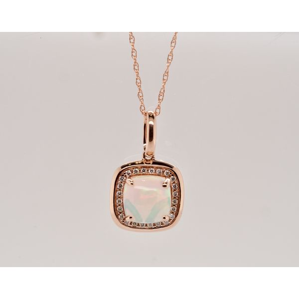 Square Opal Necklace in Rose Gold Portsches Fine Jewelry Boise, ID