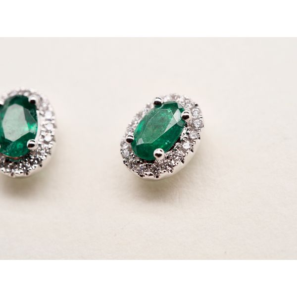 Oval Emerald Studs with Diamond Halo Image 3 Portsches Fine Jewelry Boise, ID