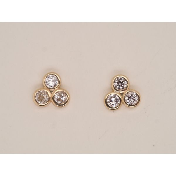 3 Stone Bezel Set Studs in Yellow Gold Portsches Fine Jewelry Boise, ID