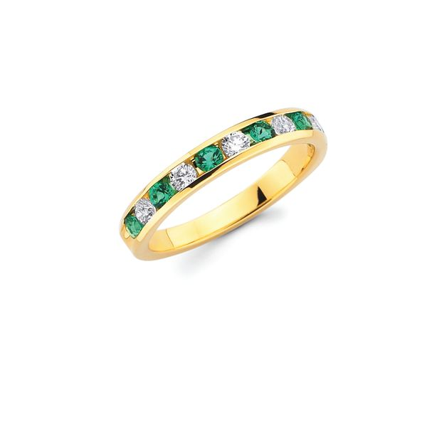 Emerald and Diamond Anniversary Ring Johnnys Lakeshore Jewelers South Haven, MI