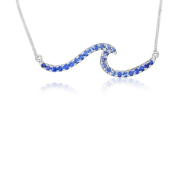 Sapphire Wave Bar  Necklace Johnnys Lakeshore Jewelers South Haven, MI